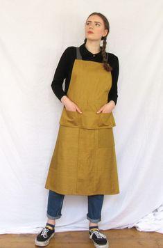 Striking ochre denim work apron with dark grey adjustable straps -constructed using denim remnants and carefully designed for the needs of artists and makers.. The apron combines the comfort of a crossback apron, with the snug fit of a tie apron, or, leave loose for an easy fit! Rustic Aprons, Long Bib, Work Aprons, Denim Patchwork, Boro, French Vintage, Dark Grey, Snug Fit