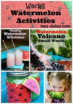 Watermelon themed activities for kids at Twodaloo- watermelon milkshakes, sensory play, a watermelon volcano, and more! #Summer Activities, Kid Activities, Summer Kid Activities