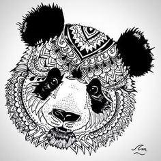 mandala black and white animal - Google Search