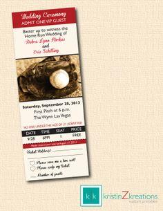 BASEBALL TICKET themed wedding invitation and rsvp custom printable-- digital file 3 x 8 on Etsy, $15.00