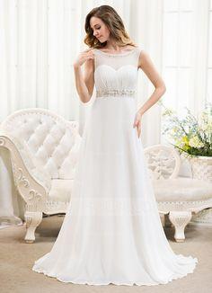 [US$ 139.99] A-Line/Princess Scoop Neck Sweep Train Chiffon Wedding Dress With Ruffle Beading Sequins (002054624)