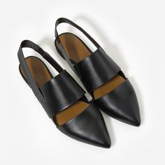 Pointed Slingback Pumps - Black - Flats - Shoes | CHARLES & KEITH