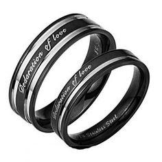 Engravable Titanium Steel Charm Promise Couple Ring