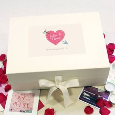 A beautiful keepsake box perfect for Valentine's day or a special anniversary, personalised with your own text. Choose from three designs.You can personalise all three lines of text on the keepsake box. For example: First line of Text: John & Second Line of Text: Anna Third Line of Text: 16th August 2010 If you don't want to use a line just write 'leave blank' in the box. There are three designs for you to choose from: Heart on Cream Background, Heart on Pink Background, Heart Pattern…