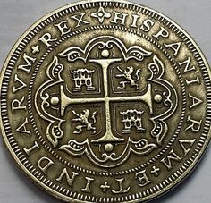 Copied from Spanish Galleon Shipwreck treasure. 1650 Mexico 8 Reales (pieces of eight)Large exact replica Spanish Galleon, Pieces Of Eight, Mermaid Room, Antique Coins, Hidden Treasures, Shipwreck, Tall Ships, Fountain Pens, Archaeology