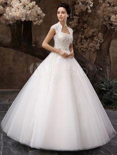 Vestido de noiva marfim princesa em tule e renda com decote nas costas e aplique de lantejoulas - Milanoo.com