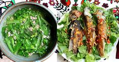 Healthy dinner <3. Green cabbage soup w grinded pork + deep fried snakehead fish madarined w chili and lemongrass <3  Discover more amazing recipes at www.vietnamesefood.com.vn