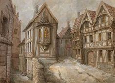 Drawing Medieval Village