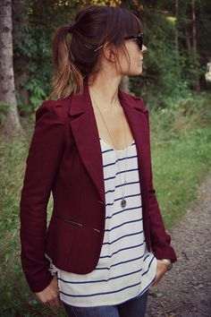 // burgundy blazer, striped loose tank, long anchor necklace