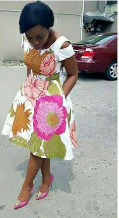African Ankara Print Dress Ankara Dress Short Dress Flared #ankarafashion,