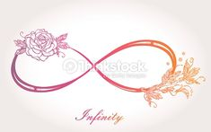 Hand drawn intricare infinity sign in vintage retro style with rose. Elegant…