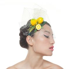 Lemon Fascinator Yellow and Turquoise Headband by MaorZabarHats
