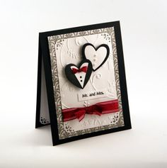 Black and White Wedding Congratulations Card 3D by ThePurpleTable