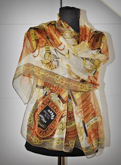 HERMES Cliquetis silk long scarf - Made in France - Belts and tassels - Orange Brown cooper gold - baroque print