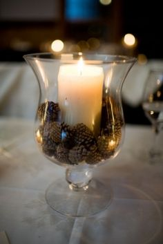 Candles and pinecones