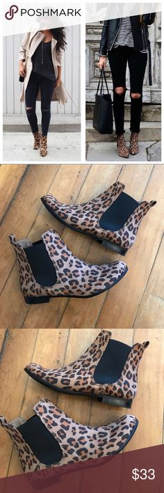 Leopard Print Trendy Ankle Booties Size 7.5! First picture is outfit inspo, not the exact boots! ⚜️I love receiving offers through the offer button!⚜️ Good condition, as seen in pictures! Fast same or next day shipping! Open to offers but I don't negotiate in the comments so please use the offer button Check out the rest of my closet for more Adidas, Lululemon, Tory Burch, Urban Outfitters, Free People, Anthropologie, Topshop, Asos, Revolve, Brandy Melville, Zara, and American Apparel…
