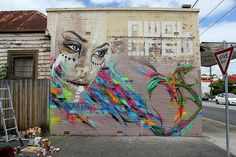 Quick little wall with the crew. 2012. I think my fluoro addiction is subsiding, I wasn't feeling the colours on this one. #Adnate - More #streetart at www.Streetart.nl