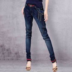 Acrmrac Women Jeans Woman Winter High Waist Pants Plus Velvet Thickening Straight Pants Full Length Jeans Women Ideal Gift For All Occasions Women's Clothing