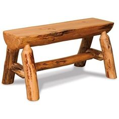 Amish Rustic Pine Half Log Bench ($124) ❤ liked on Polyvore featuring home, furniture, benches, aspen log furniture, pine furniture, pine wood furniture, hand made furniture and log home furniture