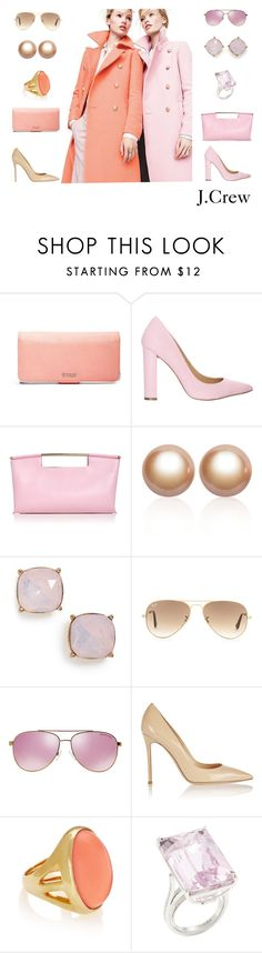 """""""Spring Coats - Accessorize them"""" by dezaval ❤ liked on Polyvore featuring J.Crew, GUESS, Siren, Delpozo, Amour de Pearl, BP., Ray-Ban, Michael Kors, Gianvito Rossi and Kenneth Jay Lane"""