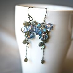 Mayahelena Jewelry - Mystic Quartz and Labradorite Faceted Cubes Antiqued Sterling Silver Cascading Dangle Handmade Earrings