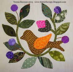 """I finished four more Lori Smith """"Song of Spring"""" hand applique blocks while my quilt cave was torn up. This was during my recent p..."""
