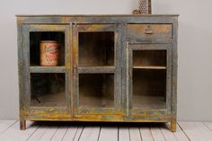 Restored Antique Warm Industrial Wood Metal Chippy Blue Yellow Sideboard Media Console Buffet on Etsy, $1,199.00