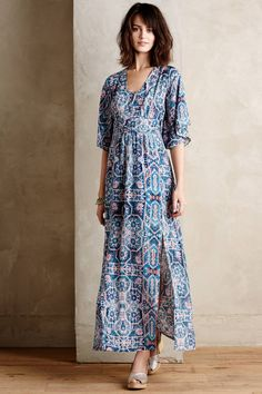 Silk Tilework Maxi Dress by Maeve #anthrofave #anthropologie