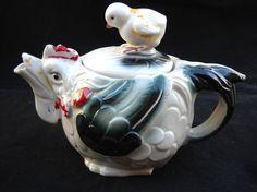 Vintage Porcelain Rooster Tea Pot by gasman201 on Etsy, $18.00