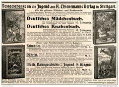 Original-Werbung/Inserat/ Anzeige 1902 - DEUTSCHES MÄDCHENBUCH/KNABENBUCH/THIENEMANN'S VERLAG STUTTGART ca. 130 x 180 mm