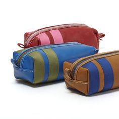 Shek O Small Toiletry Kit – corroon Red Leather with Hot Pink Blue Leather with Olive Brown Leather with Royal Blue