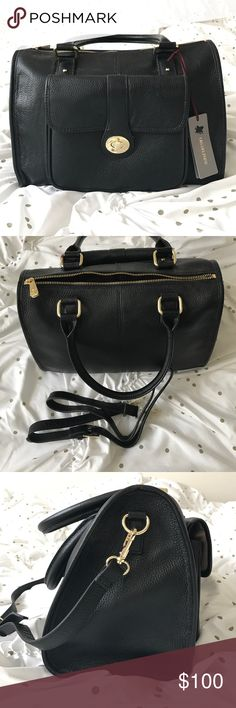 """NWT black Ora Delphine Kelly Satchel leather Genuine leather with gold tone hardware, top zip closure, removable adjustable shoulder strap, exterior front turn lock flap pocket, 1 interior zip and 2 slip pockets. 12"""" L x 8.5"""" H x 6"""" W. 7"""" handle drop, 2 lbs. search online for more pictures of this gorgeous purse! Featured on Good Morning America Ora Delphine Bags Satchels"""
