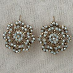 Antique Victorian Seed Pearl Earrings