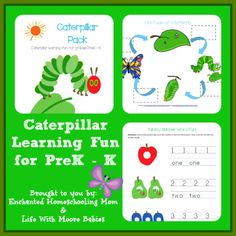 Free Caterpillar Themed Early Learning Pack! Includes alphabet, math, and science!