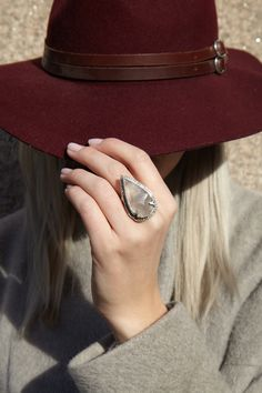 Set in silver, this unique Pave Arrowhead Ring is crafted with white jasper and champagne diamonds. This piece combines luxury and organic elements to create jewelry that is both environmentally conscious and contemporary in design. Available at stoneandstrand.com - $3,010.