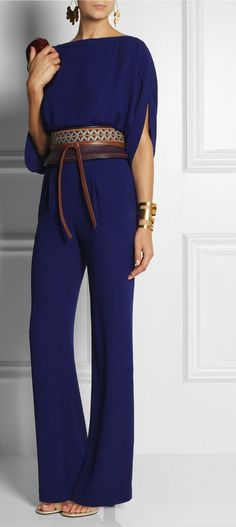 Diane von Furstenberg's Collection is a Celebration of Style. This Purple and Tan Leather Obi belt is Embroidered to striking effect. Shown here with Hervé Van der Straeten Earrings and Cuff, Diane von Furstenberg Jumpsuit, Givenchy shoes, Dian 70s Fashion, Look Fashion, Womens Fashion, Queer Fashion, Fashion 2016, Mode Style, Style Me, 70s Style, Mode Ab 50