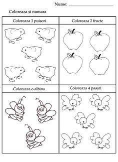 Coloring number worksheets for kindergarten kids: count and color the counted pictures. Literacy Worksheets, Number Worksheets, Worksheets For Kids, Preschool Learning Activities, Kindergarten Math, Math Numbers, Math For Kids, Halloween Crafts, Cool Kids