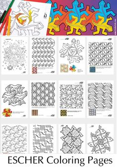 PATTERN- ESCHER Coloring Pages - I don't do colouring in lazy teaching in my classes but thought these might come in handy for tessellation/patterning or perhaps colour theory activities High School Art, Middle School Art, Escher Kunst, Mc Escher Art, Zentangle, Tessellation Patterns, Escher Tessellations, Doodle Patterns, Art Handouts