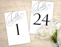 Elegant Script Printable Table Numbers design No. 257 - digital table numbers 1 - 24 for wedding, bridal shower, baby shower DIY https://etsy.me/2qxvyBn