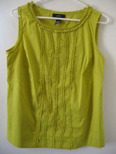 Alfani Lime Green Yellow Chartreuse Sleeveless Embellished Top Size 6
