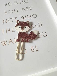 Cute! Brown glitter fox planner clip #ad #Etsy #fox