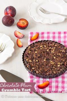 Chocolate Plum Crumble Tart