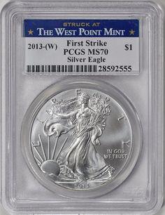2013-(W) $1 Silver Eagle First Strike (Struck at West Point) PCGS MS-70 Silver Eagle Coins, Silver Eagles, Bullion Coins, Silver Bullion, Us Coins, Mint, Personalized Items, Ebay, American