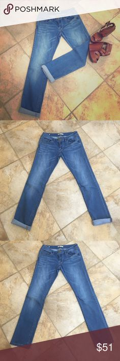 "NWOT Cabi jeans Washed once but never worn! Air dried. Like new! Cabi jeans. Size 2. Can be cuffed or worn tucked into boots. Waist 15"". Inseam 31"". CAbi Jeans Straight Leg"