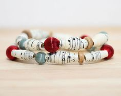 2 Recycled Paper Bead Bracelet Handmade with recycled sheet music and repurposed beads $15.00
