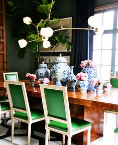 kelly green silk chairs.