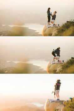 This cliffside proposal is an absolute dream! The view, the story, everything is perfect.