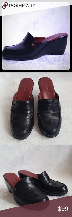 """Retro 90s Tommy Hilfiger Leather Mule Classic vintage 90's style. Tommy Hilfiger black leather penny loafer mules with 3"""" wedge heel. Slides. Open back, retro 1990's loafer style shoes.  Very good used condition. Smoke free and pet free home.   Check out my other listings - 100's of 👠shoes👠, 👢boots👢 and 👜bags👜. Bundle 2 or more and save money!💲💰💲 Tommy Hilfiger Shoes Mules & Clogs"""
