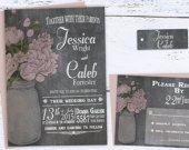 Rustic Printable Wedding Invitation Mason Jar Wedding by X3designs