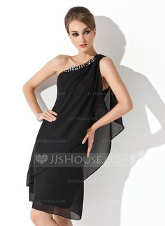 Cocktail+Dresses+-+$114.49+-+Sheath/Column+One-Shoulder+Knee-Length+Chiffon+Cocktail+Dress+With+Beading+(016021244)+http://jjshouse.com/Sheath-Column-One-Shoulder-Knee-Length-Chiffon-Cocktail-Dress-With-Beading-016021244-g21244